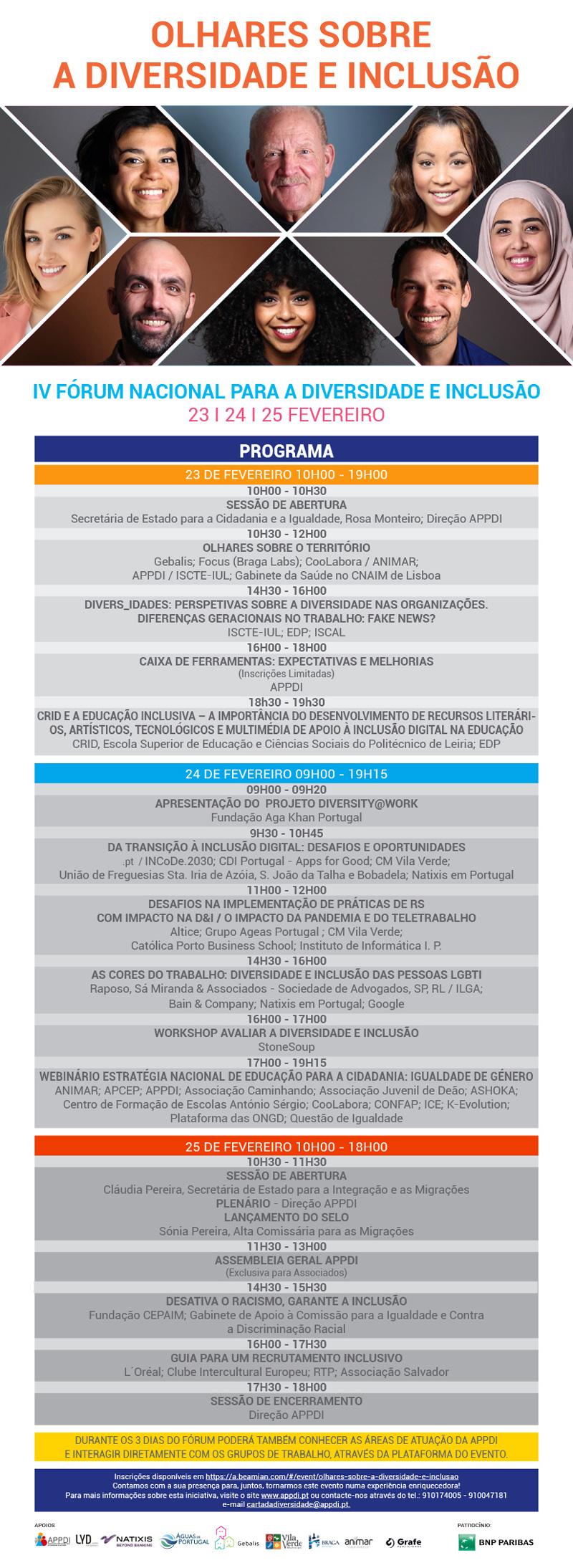 IV Fórum Nacional para a Diversidade e Inclusão - 23/24/25 Fevereiro  IV Fórum Nacional para a Diversidade e Inclusão iv forum nacional diversidade inclusao programa 1