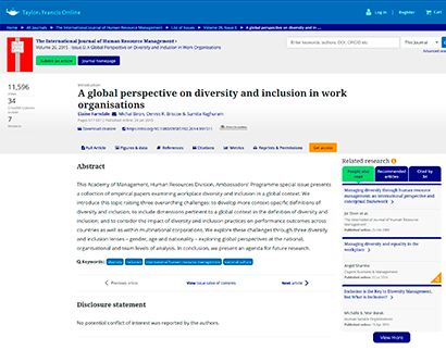 a global perspective on diversity and inclusion in work organisations A global perspective on diversity and inclusion in work organisations A global perspective on diversity and inclusion in work organisations  Plataforma do Conhecimento – teste A global perspective on diversity and inclusion in work organisations