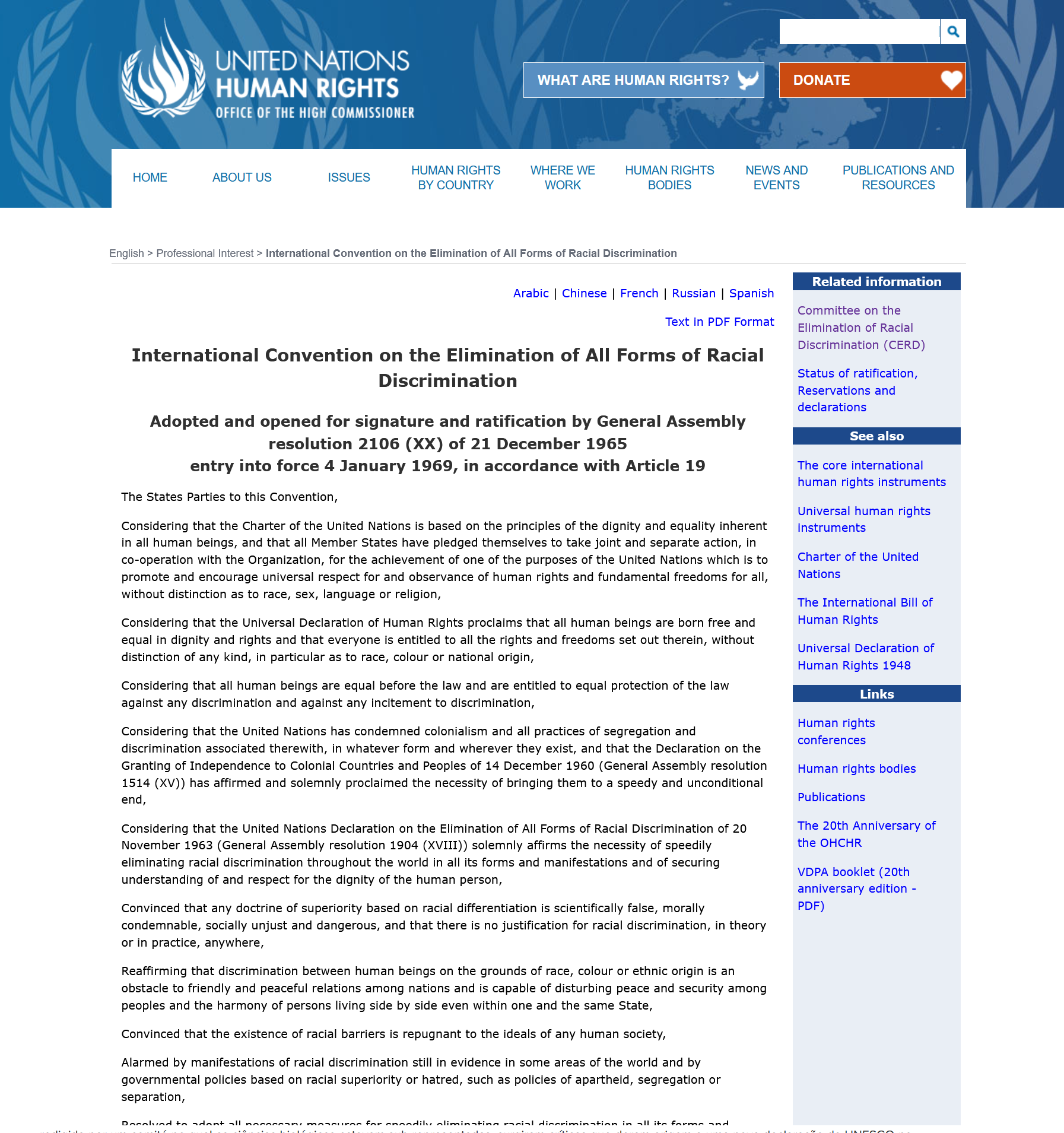 ohchr - ratification of the convention on the elimination of all forms of racial discrimination OHCHR – Ratification of the Convention on the Elimination of All Forms of Racial Discrimination OHCHR International Convention on the Elimination of All Forms of Racism capa