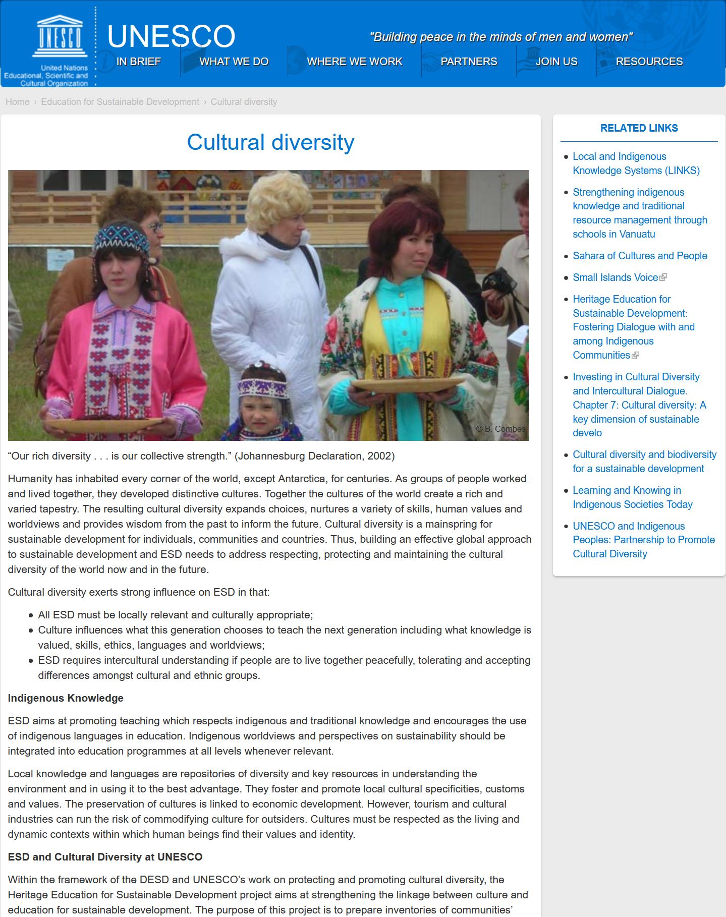 unesco -  cultural diversity UNESCO –  Cultural diversity UNESCO Cultural diversity capa